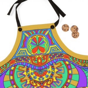 Jara's Famous Kitchen Apron flat on surface - close-up Featured